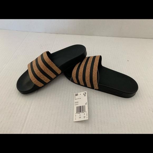 Adidas Originals Women Adilette Cork Slides Black NWT
